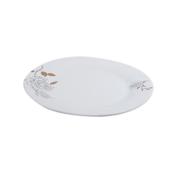 Assiette en porcelaine plate 1 pièce – Blanc motif fleur