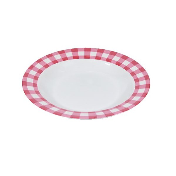 Assiette plate en mélamine rouge et blanc