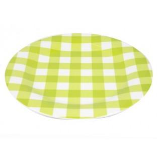 Assiette plate en mélamine vert et blanc