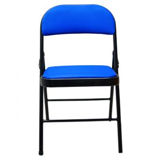 Chaise pliante à dossier mousse et métal – Bleu