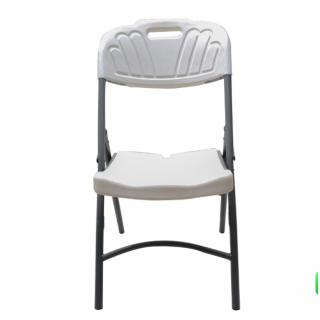 Chaise pliante plastique et métal Gris