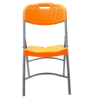 Chaise pliante plastique et métal Orange