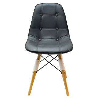 Chaise scandinave dossier en cuir Noir