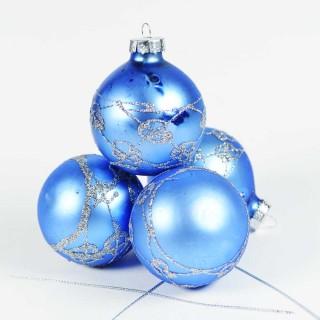 Boule de Noël pour sapin- Lots de 4 boules – Bleu 6