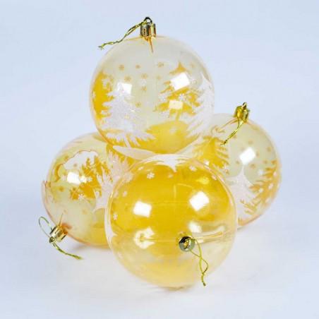 Boule de Noël pour sapin- Lots de 4 boules – Jaune