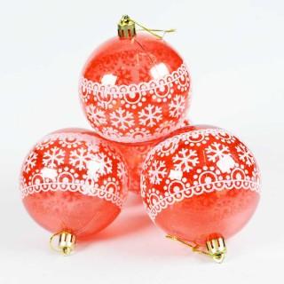 Boule de Noël pour sapin- Lots de 4 boules – Rouge 4