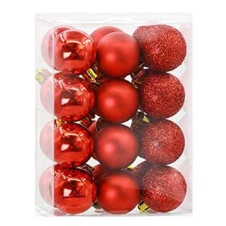 Boule de Noël pour sapin- Lots de 16 boules – Rouge