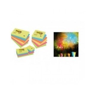 POST-IT NOTES RAINBOW PASTEL JAUNE- VERT-PINK-BLEU 75x75