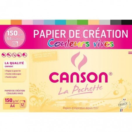 pochette 12 feuille dessin canson 12f a4 creation claires150g