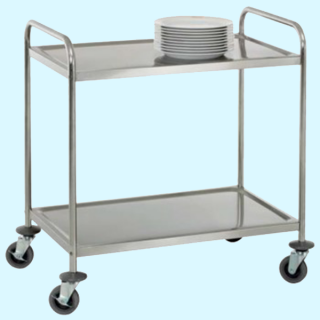 Chariot service inox 2 plateaux
